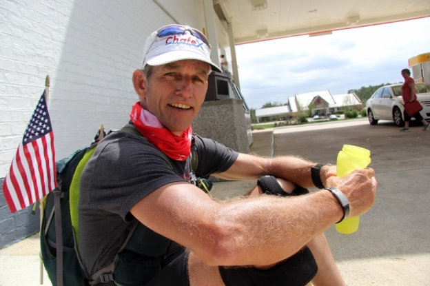 Dave Cockman takes a water break at a convenience store along U.S. Highway 64 near Pittsboro (800x533)