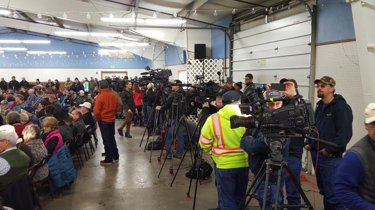 Media converge on Burns photo by Jeff Graham