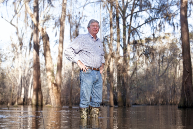 Dink NeSmith owner of the Press-Sentinel in Jesup, Ga. goes the extra mile to illustrate the delicate ecosystem of the Wayne County area. This is the Altamaha River, whose waters flow to the Atlantic Ocean. NeSmith and the Press-Sentinel are fighting to keep coal ash out of their community. If allowed to be dumped in the local landfill, the toxic ash would make its way into the river and poison the waterways of southeastern Georgia. Photo by Fred Bennett