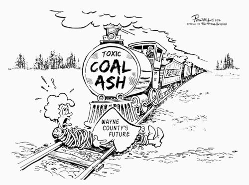 The Press Sentinel hired cartoonist Jim Powell to boost editorials against dumping coal ash at the Landfill.