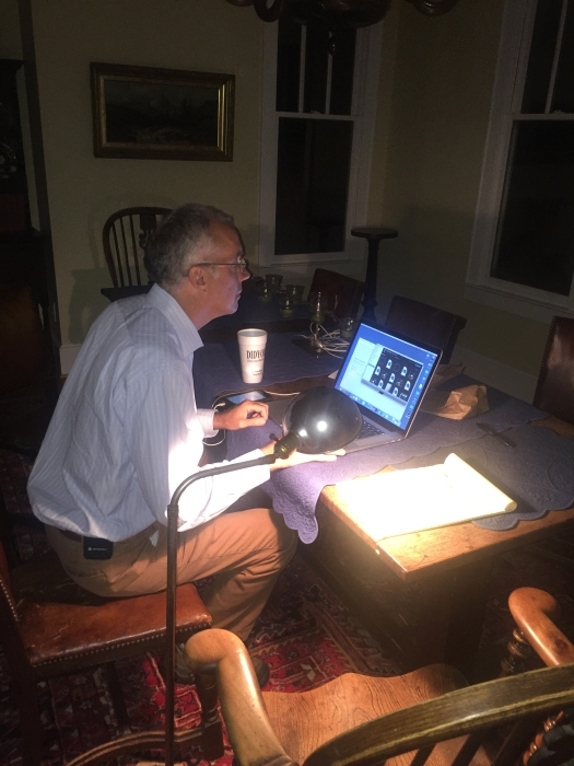 Les High set up a newsroom at his house after the entire town of Whiteville lost power during Hurricane Matthew. High's home generator produced just enough electricity to lay out the News Reporter, his family's community newspaper