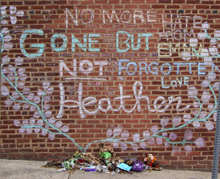 Memorial to Heather Heyer near the spot where she was killed 4